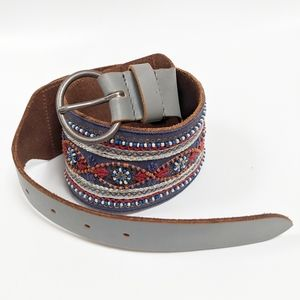 Anthropologie Wide Beaded Leather Gray Belt